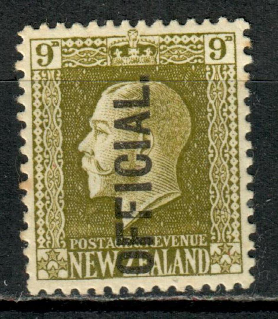 NEW ZEALAND 1915 Geo 5th Official 9d Olive. Very lightly hinged. - 75211 - LHM image 0