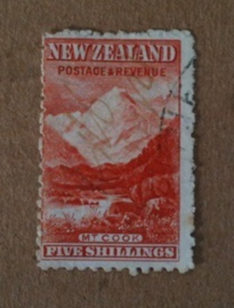 NEW ZEALAND 1898 Pictorial 5/- Deep Red. Second Local Issue with Upright Watermark. Perf 11. - 74639 - FU image 0