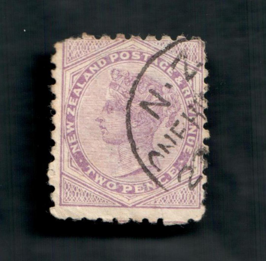 NEW ZEALAND 1882 Victoria 1st Second Sideface 2d Mauve. Perf 10. Secnd setting. Stop that Cough Bonnington's Irish Moss will do image 0