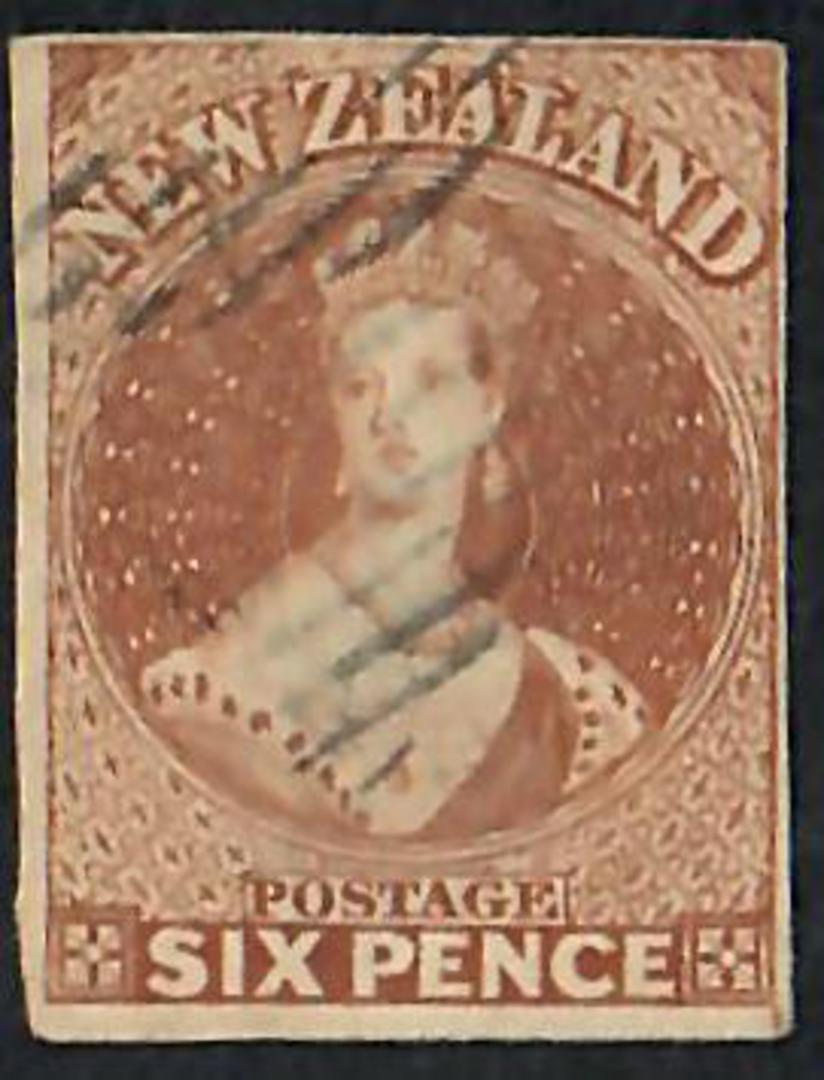 NEW ZEALAND 1855 Full Face Queen 6d Brown Imperf. No Watermark. - 60058 - VFU image 0