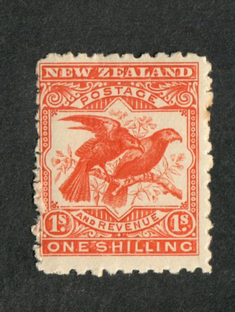 NEW ZEALAND 1898 Pictorial 1/- Kaka. - 48 - UHM image 0