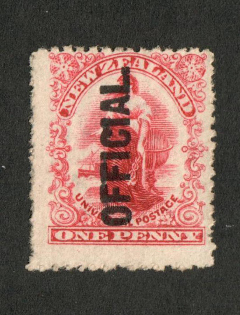 NEW ZEALAND 1901 1d Universal Official. Upright shading on the Globe. - 65 - UHM image 0