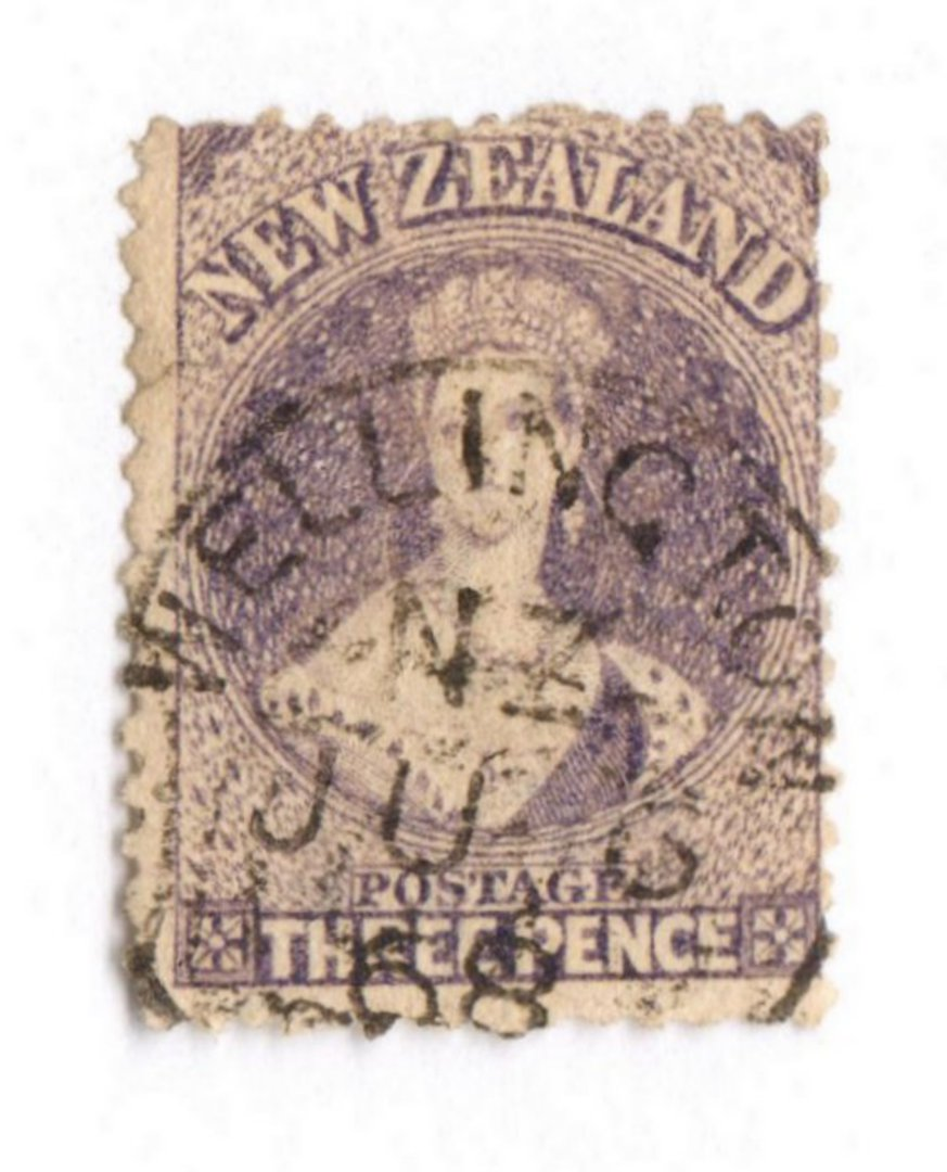 NEW ZEALAND 1862 Full Face Queen 3d Lilac. Dated postmark - 3589 - Used image 0
