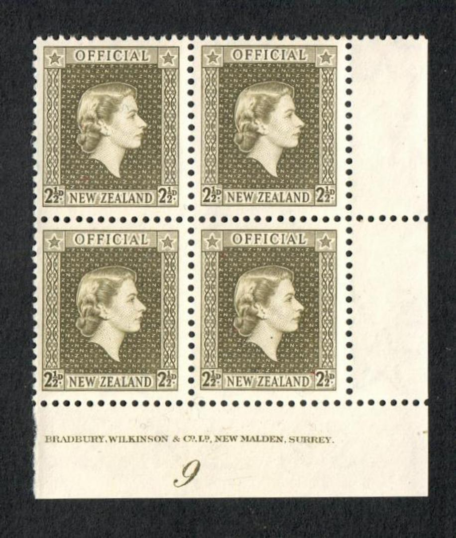 NEW ZEALAND 1953 Elizabeth 2nd Official 2½d Olive-Green in Plate Block of 4. - 74615 - UHM image 0