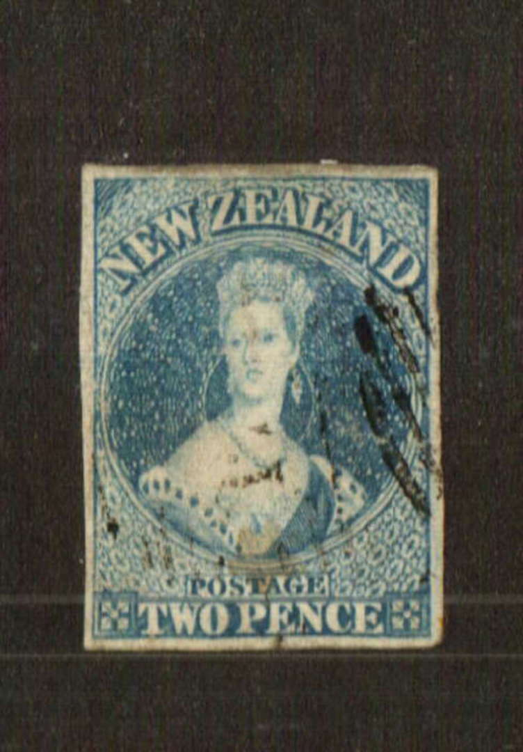 NEW ZEALAND 1855 Full Face Queen 2d Pale Blue. White paper. No watermark. Imperf. Good margins. Nice postmark - 70728 - FU image 0