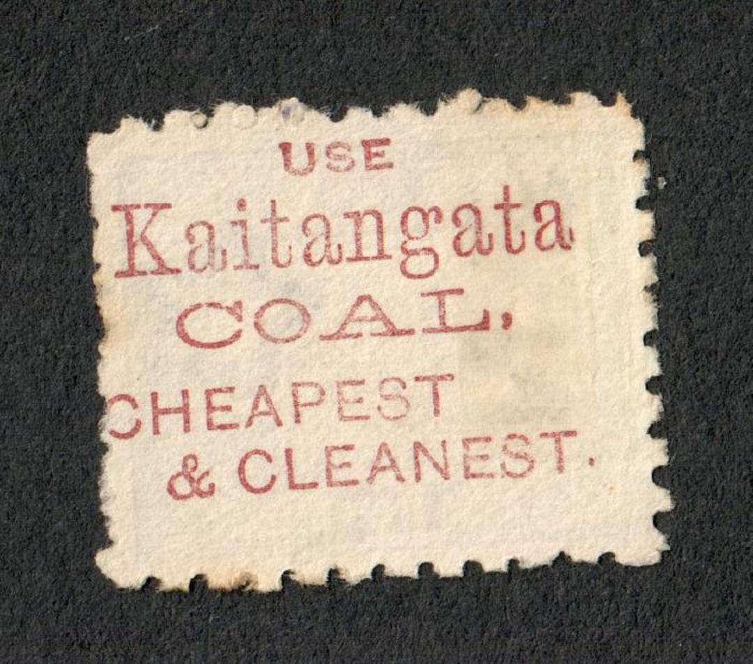 "NEW ZEALAND 1882 Victoria 1st Second Sideface 5d Grey with advert ""Kaitangata"". - 75171 - FU image 1"