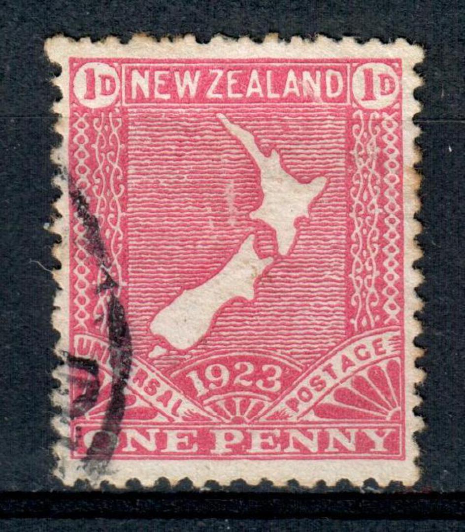 NEW ZEALAND 1923 1d Map. Cowan paper. CP S16c $40.00. - 4313 - FU image 0