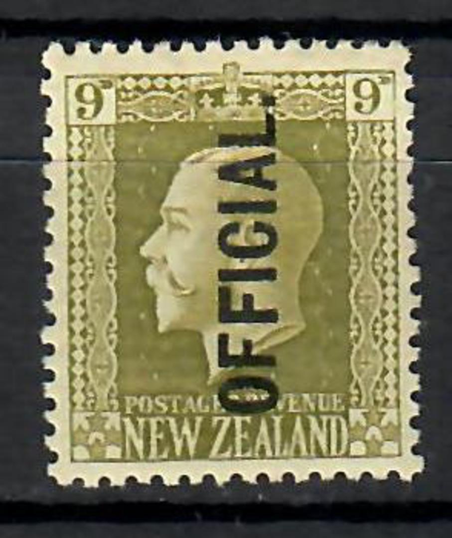 NEW ZEALAND 1915 Geo 5th Official 9d Olive. Recess. - 70644 - LHM image 0