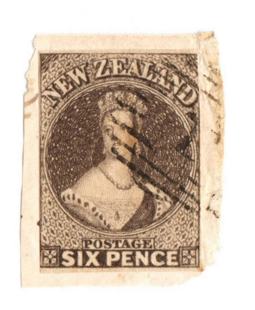 NEW ZEALAND 1855 Full Face Queen 6d Black-Brown. Imperf. 4 margins possibly just touching on the right. Light cancel. - 75052 - image 0