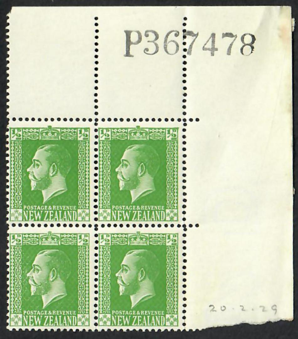 NEW ZEALAND 1915 Geo 5th Definitive ½d Green on Provisional Art Paper with Colourless Watermark Horizontal Mesh. Block of 4. - 2 image 0