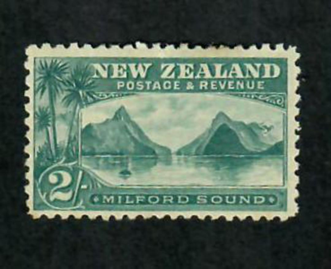 NEW ZEALAND 1898 Pictorial 2/- Blue-Green. First Local Issue. Perf 11. No Watermark. - 79439 - LHM image 0