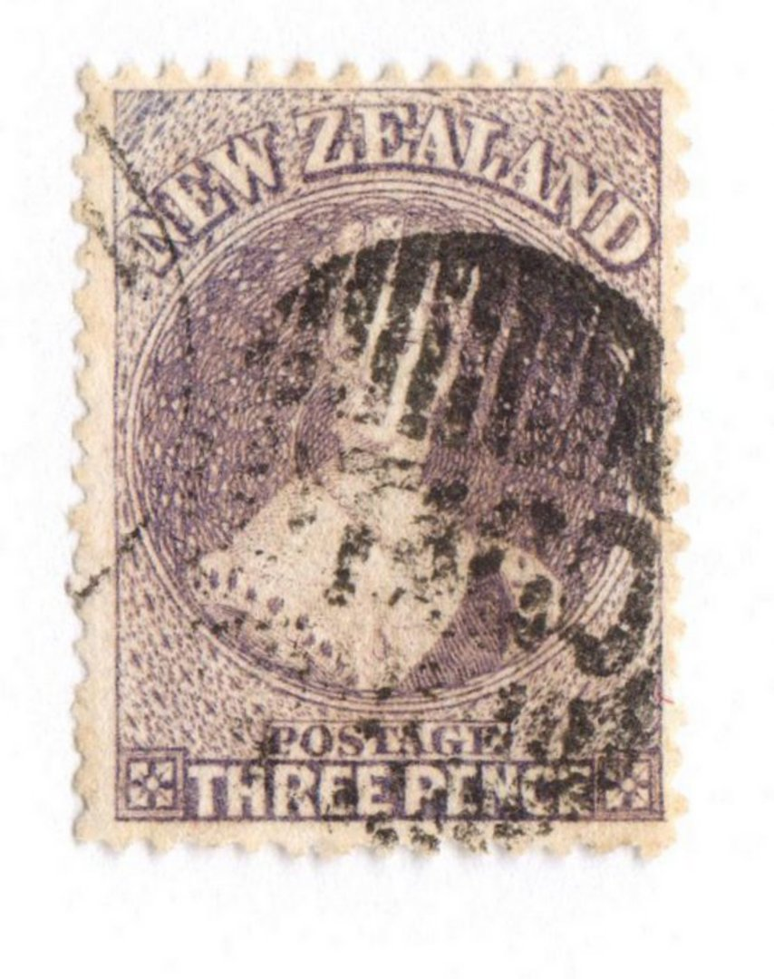 NEW ZEALAND 1862 Full Face Queen 3d Brown-Lilac. Perf 13 at Dunedin . Part Otago and bars cancel. - 79100 - Used image 0