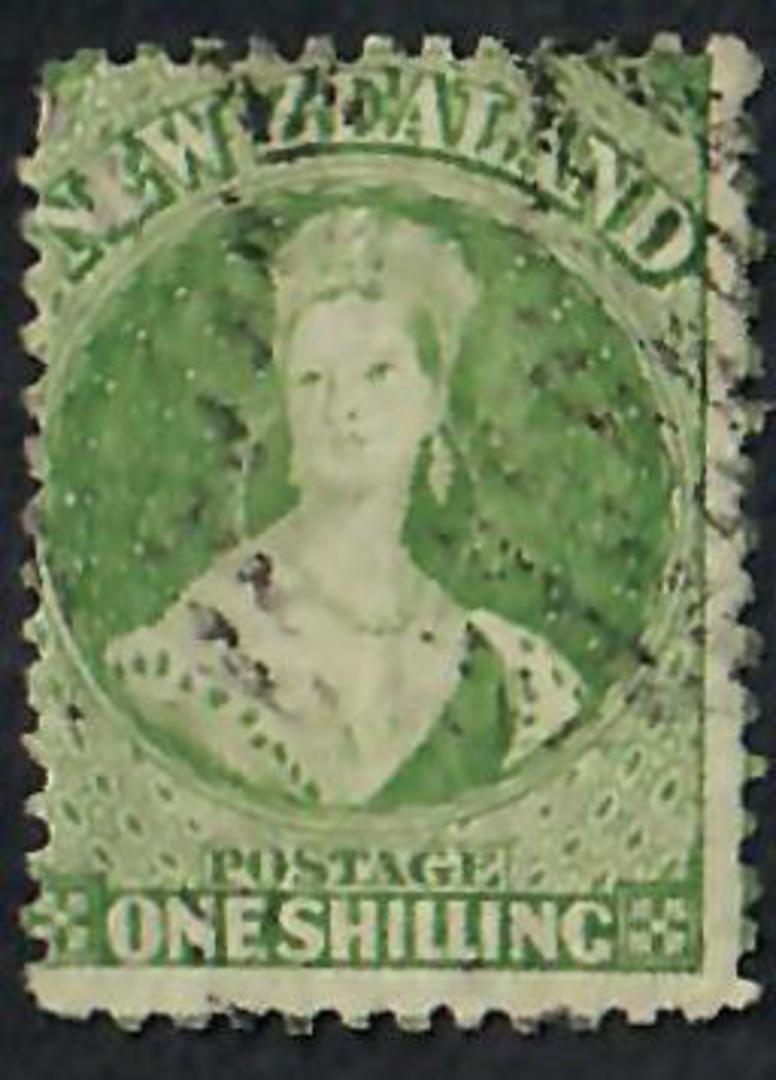 NEW ZEALAND 1862 Full Face Queen 1/- Green. Perf 12½. ACS $300.00. - 60074 - FU image 0