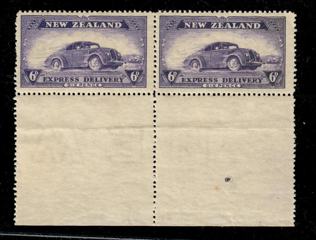NEW ZEALAND 1939 Express 6d Violet. Joined pair with selvedge. Letters Watermark. - 21040 - UHM image 0
