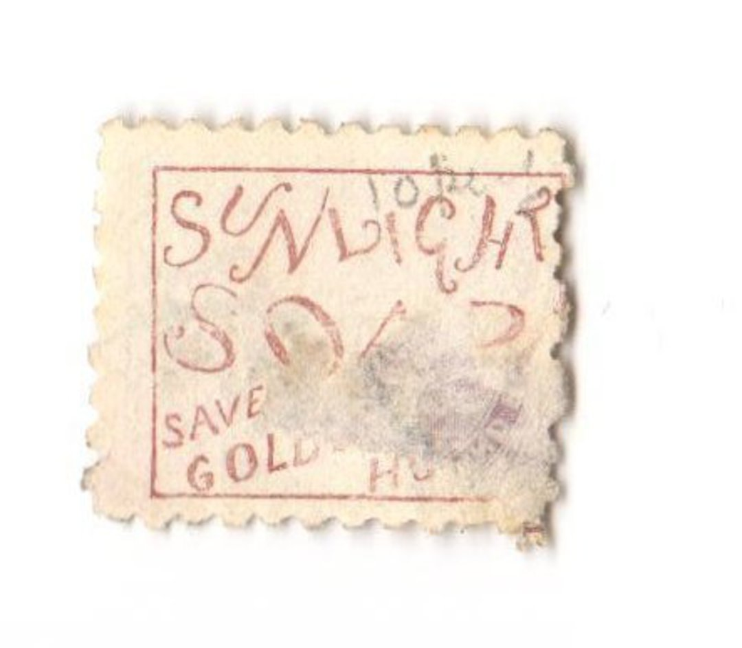 NEW ZEALAND 1882 Victoria 1st Second Sideface 2d Mauve. Perf 10. Secnd setting. Sunlight Soap saves Golden Hours. In poor condit image 0