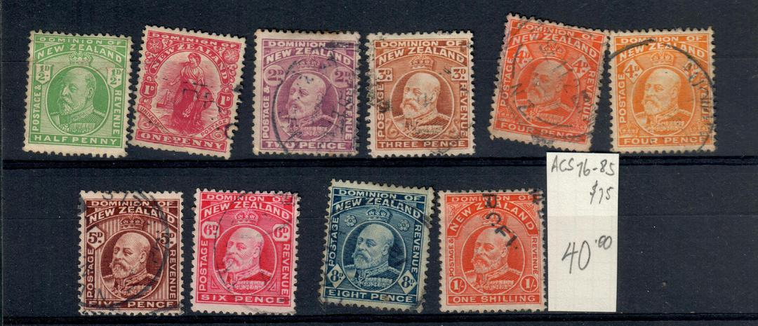 NEW ZEALAND 1909 Edward 7th Definitives. Set of 10. Good used. - 20990 - Used image 0