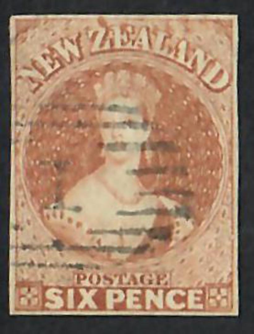 NEW ZEALAND 1855 Full Face Queen 6d Brown Imperf. 4 margins. No Watermark. Cancel 1. - 60066 - FU image 0