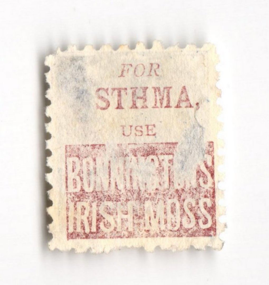 NEW ZEALAND 1882 Victoria 1st Second Sideface 2½d Blue. For Asthma use Bonningtons Irish Moss. Perf 10. In mauve. - 3972 - Used image 0