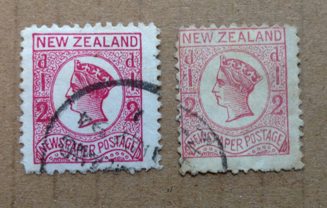 NEW ZEALAND 1873 Victoria 1st Newspaper Definitive ½d Rose . Two distinct varieties. - 75176 - Used image 0