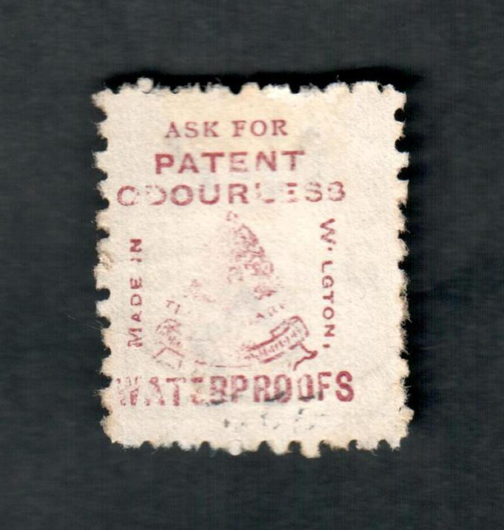 NEW ZEALAND 1882 Victoria 1st Second Sideface 5d Olive-Black. Perf 10. 3rd Setting Mauve. Patent Odourless Waterproofs. - 3996 - image 1