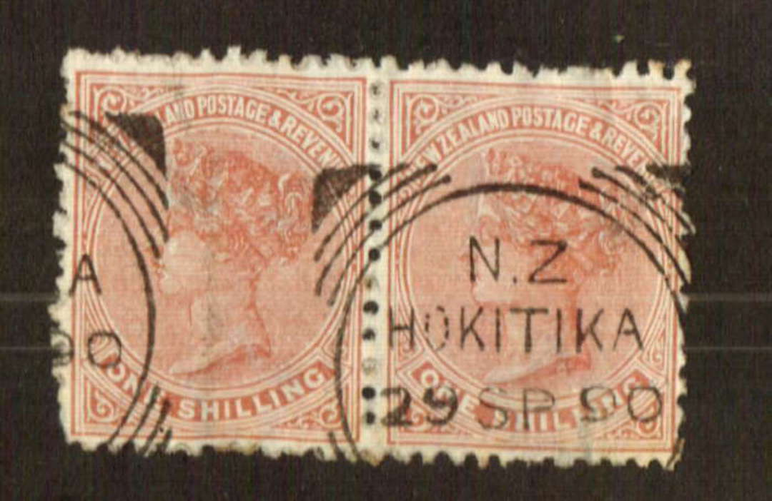 NEW ZEALAND 1882 Victoria 1st Second Sideface 1/- Chestnut.  Perf 12½x11½. Nice pair. - 71285 - FU image 0