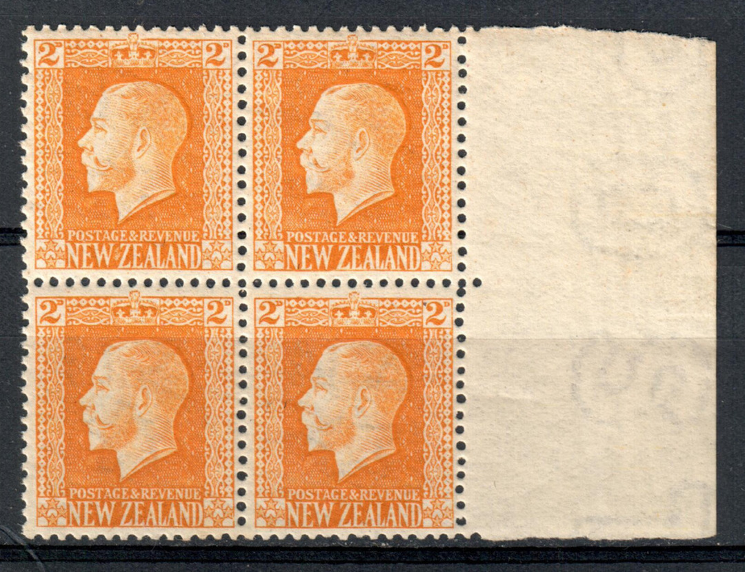 NEW ZEALAND 1915 Geo 5th Definitive 2d Yellow-Brown. Block of 4. - 79262 - UHM image 0