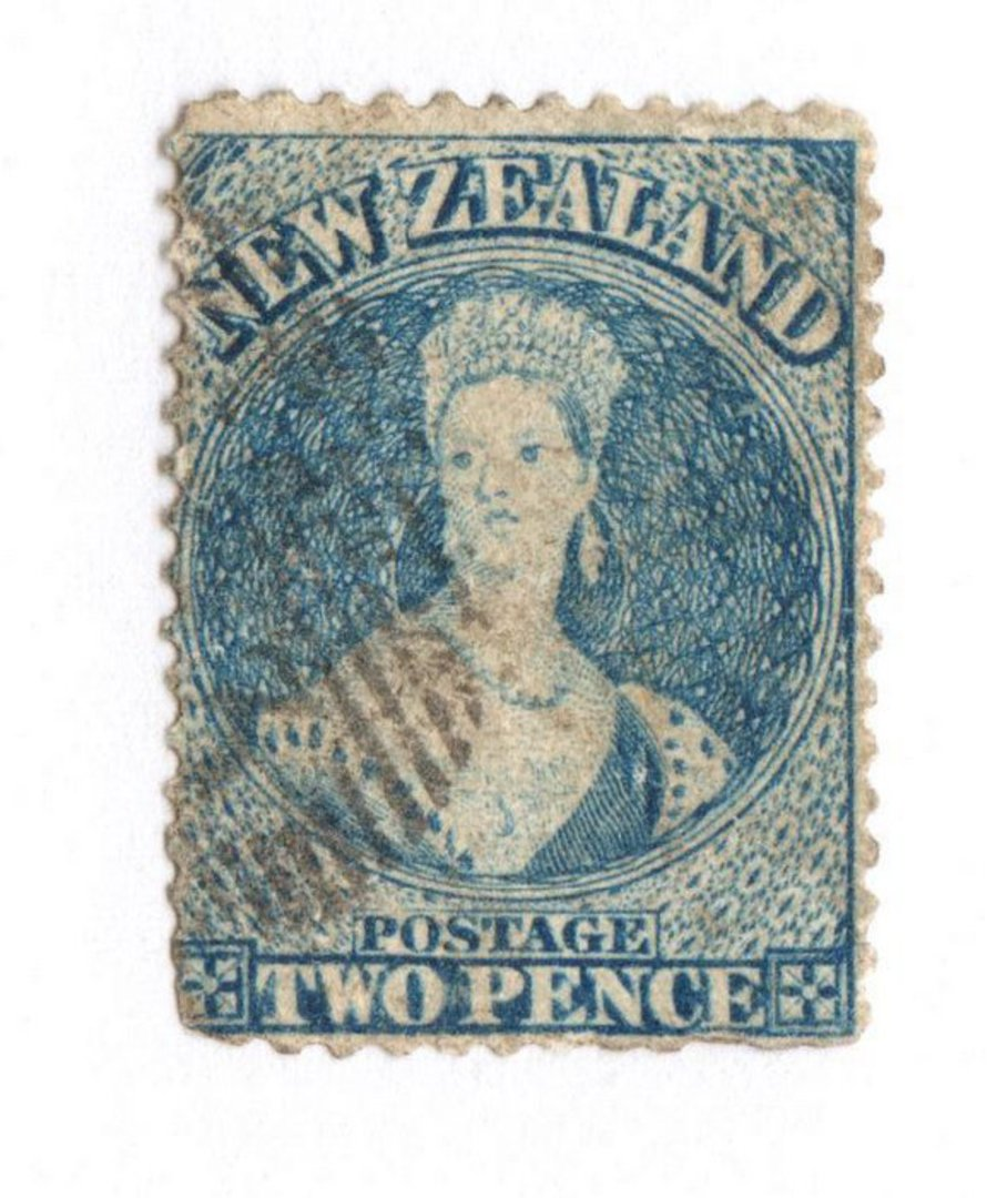 NEW ZEALAND 1862 Full Face Queen 2d Dull Deep Blue. Perf 13. No Watermark. Richardson print. Tiny thin barely noticeable. In oth image 0