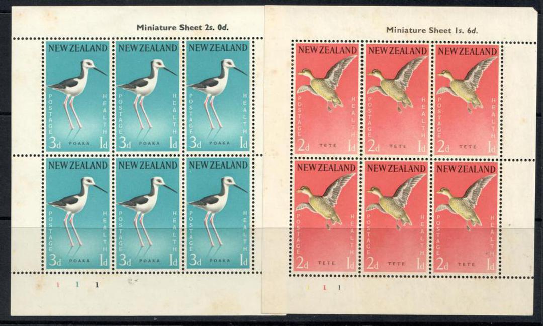 NEW ZEALAND 1959 Health miniature sheets featuring Birds. Tete and Poaka. - 12659 - UHM image 0