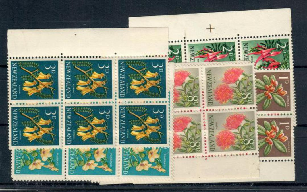 NEW ZEALAND 1960 Pictorials. Complete set of the 7 values with the Chambon trial perforations. In blocks of six. - 21313 - UHM image 0