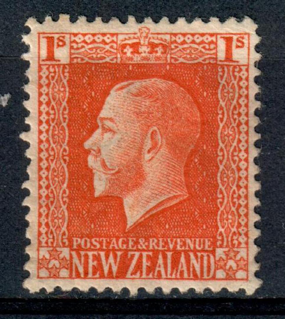 NEW ZEALAND 1915 Geo 5th Definitive 1/- Orange-Vermilion. Cowan paper. Perf 14x14½. Watermark 7. - 4192 - UHM image 0