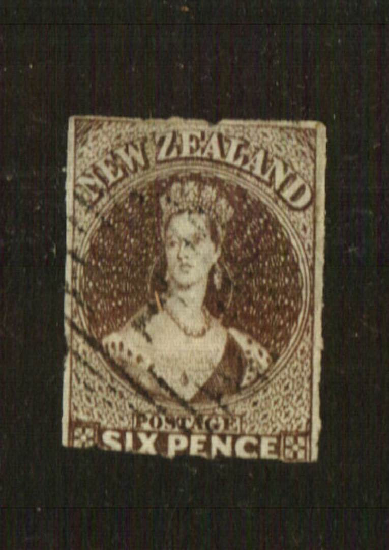 NEW ZEALAND 1862 Full Face Queen 6d Black-Brown. Pelure paper. Roulette 7 at Auckland. Superb copy not quite touching top left. image 0