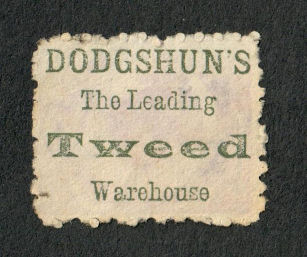 NEW ZEALAND 1882 Victoria 1st Second Sideface 2d Lilac. Perf 10. Advert in Green. Dodgshun's The Leading Tweed Warehouse. - 3991 image 0