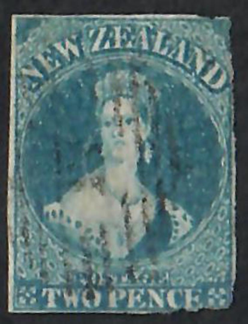 NEW ZEALAND 1855 Full Face Queen 2d Blue. Imperf. Allllmost 4 full margins. Fine postmark. - 60019 - FU image 0