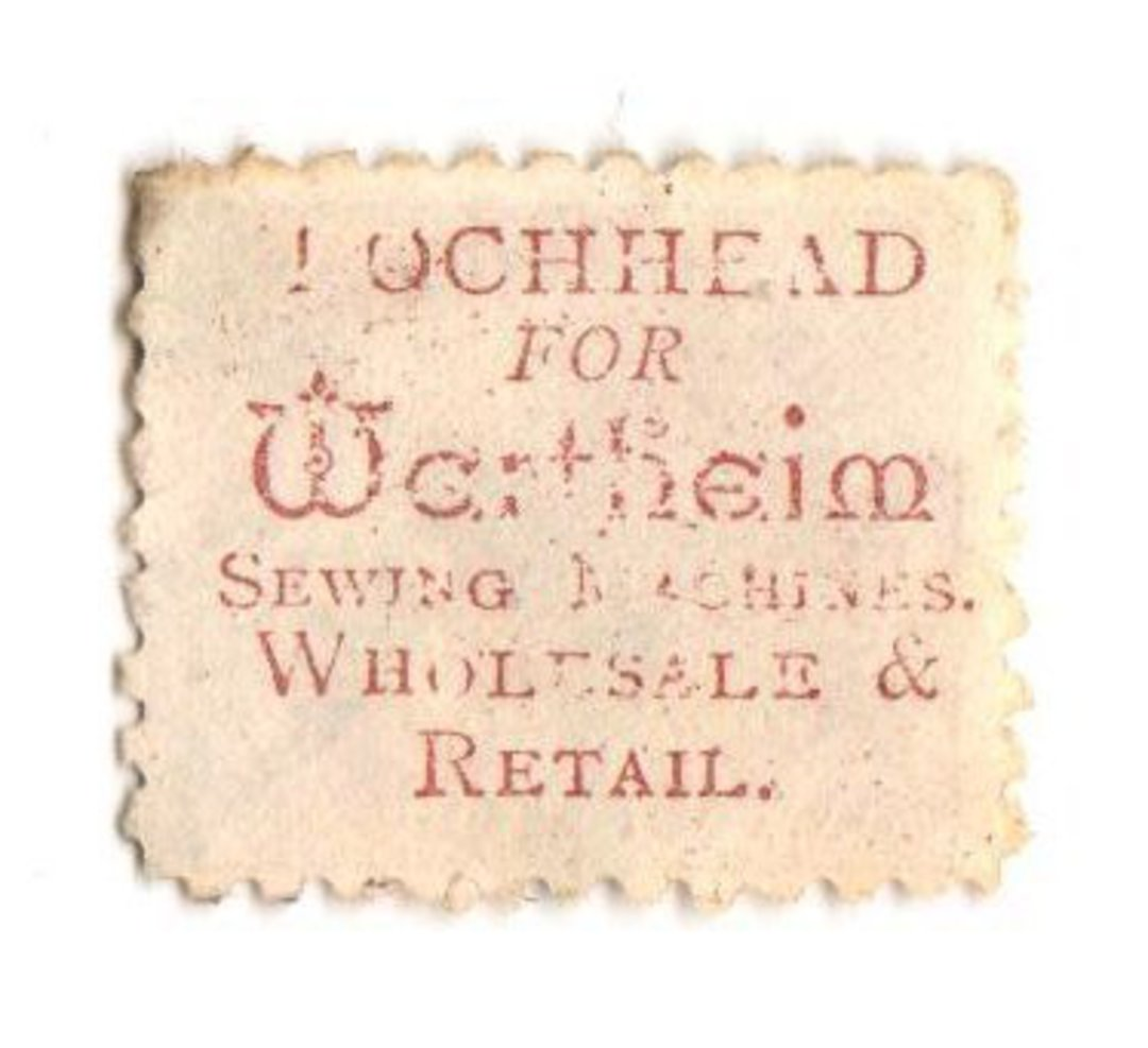 NEW ZEALAND 1882 Victoria 1st Second Sideface 2d Mauve. Perf 10. Secnd setting. Lochhead for Wertheim Sewing Machines Wholesale image 0