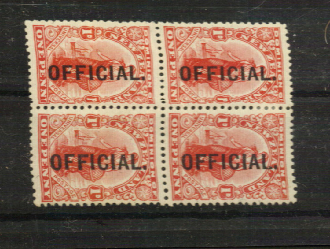 NEW ZEALAND 1910 1d Dominion Official. Block of 4 offset on the reverse. Perfect from the front but there are slight creases vis image 0