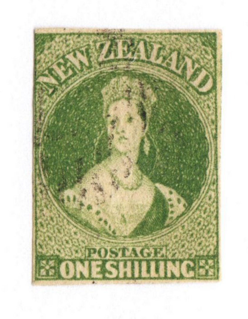 NEW ZEALAND 1855 Full Face Queen 1/- Green. Imperf. Watermark Large Star. Three clear margins. Touching top left but the frame i image 0