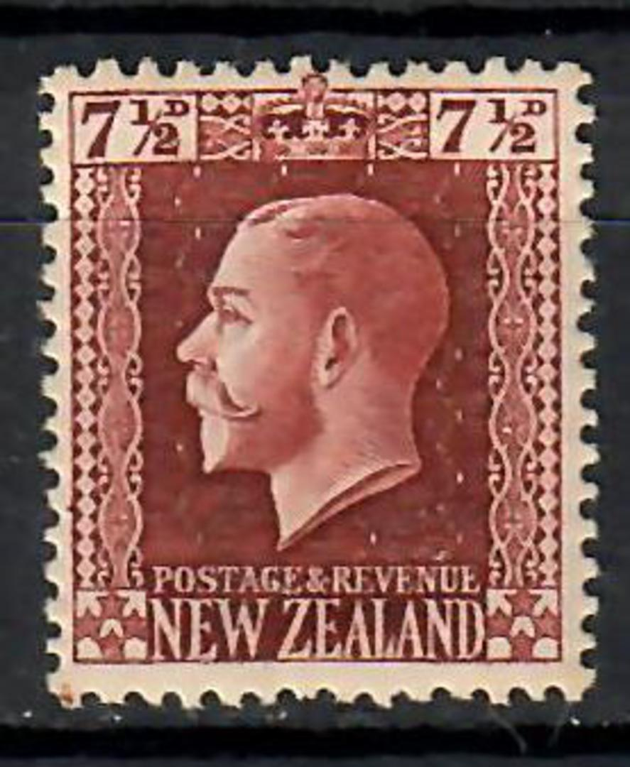 NEW ZEALAND 1915 Geo 5th Recess 7.1/2d Brown. Slightly off centre. - 70664 - LHM image 0