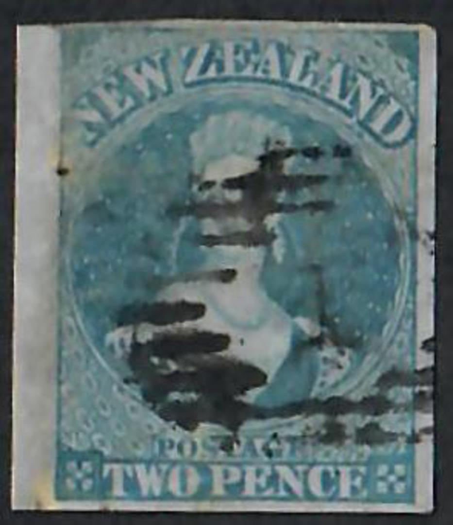 NEW ZEALAND 1855 Full Face Queen 2d Blue on blued paper.  Imperf. Perfect four margins. Postmark detracts. - 60017 - Used image 0