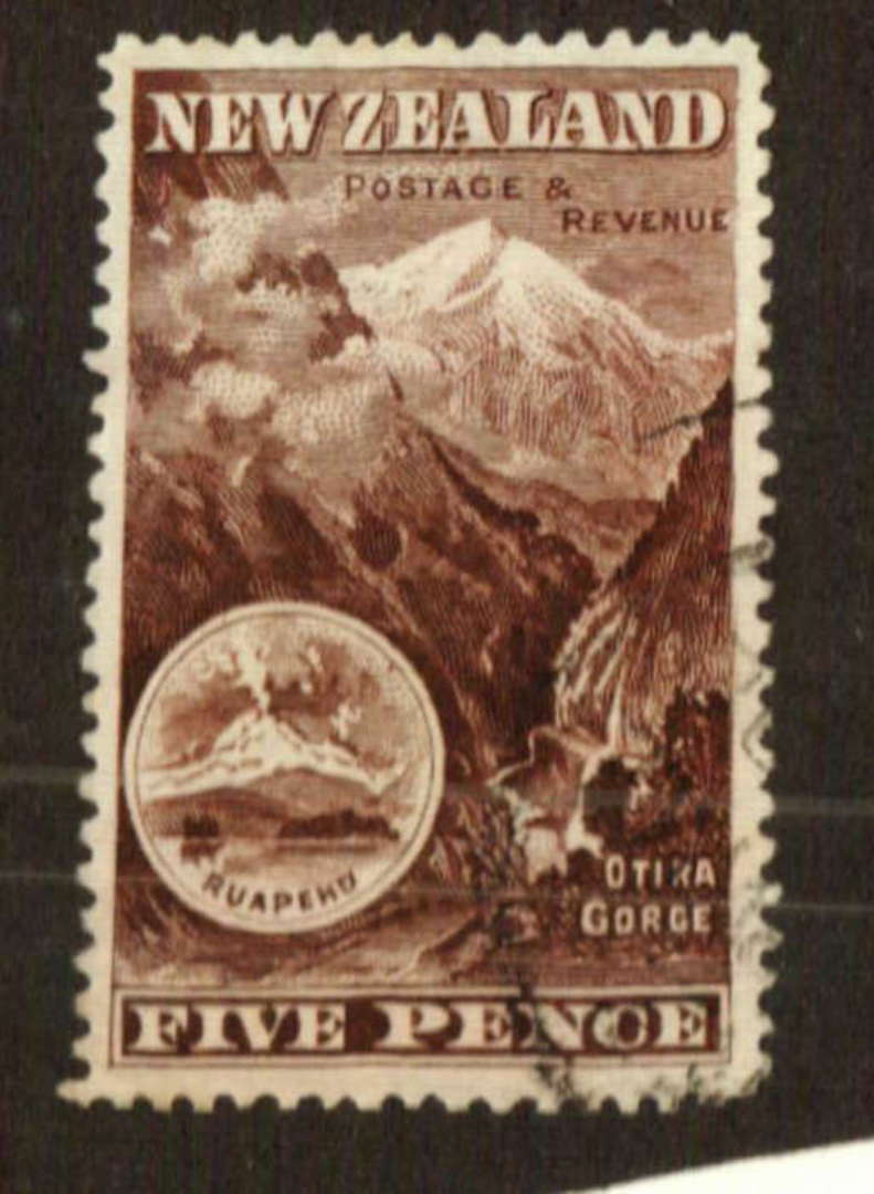 NEW ZEALAND 1898 Pictorial 5d Brown. London Print. - 71289 - VFU image 0