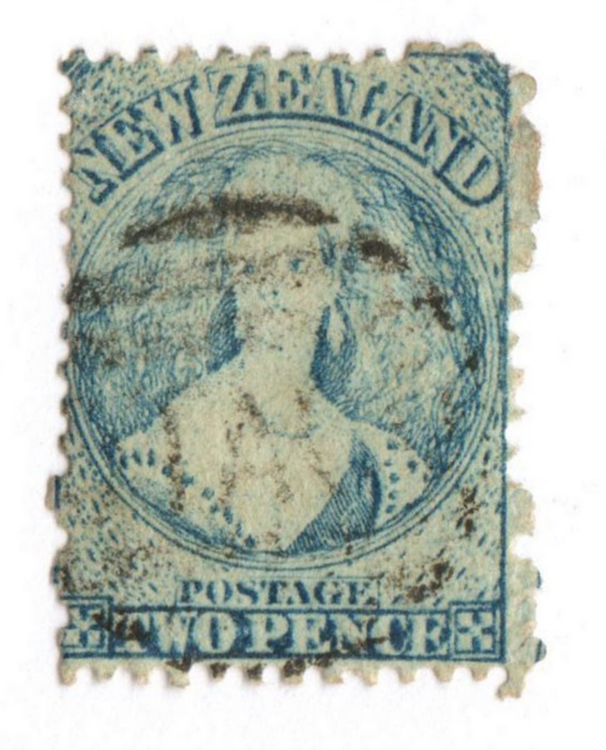 NEW ZEALAND 1862 Full Face Queen 2d Blue. Perf 12½. Very worn plate. - 71712 - Used image 0