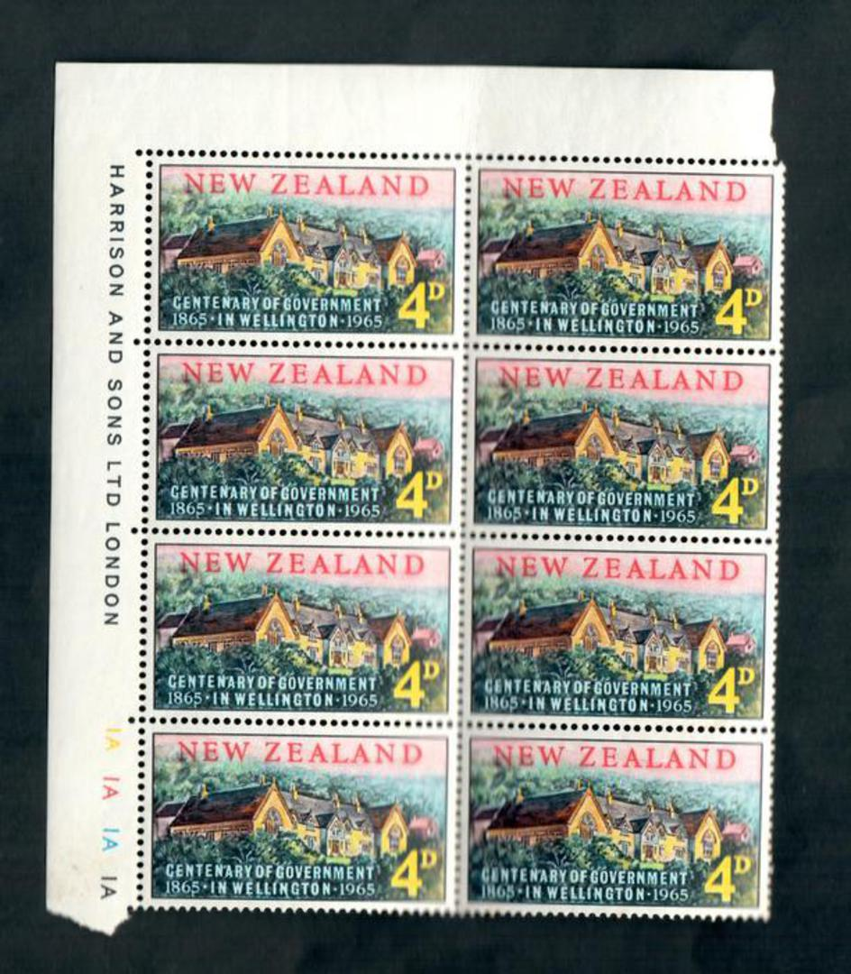 NEW ZEALAND 1965 Centenary of the Government. Plate Block 1A 1A 1A 1A. - 52196 - UHM image 0