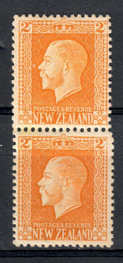 NEW ZEALAND 1915 Geo 5th Definitive 2d Yellow. Recess print. Two perf pair. - 74173 - LHM image 0