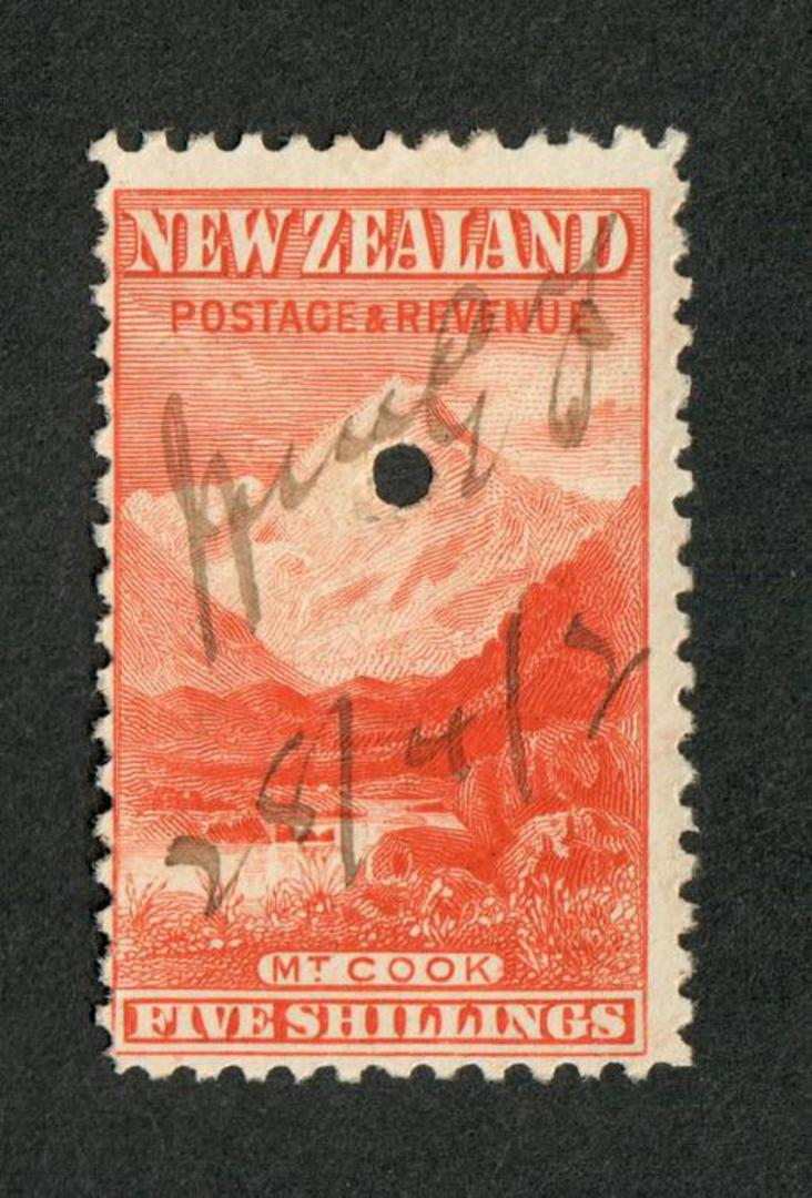NEW ZEALAND 1898 Pictorial 5/- Red on unwatermarked paper. First Local Issue. Fiscally used. - 39222 - Fiscal image 0