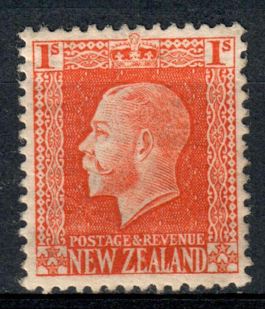 NEW ZEALAND 1915 Geo 5th Definitive 1/- Vermilion. Cowan paper. Perf 14x13½. Watermark 7. - 4190 - UHM image 0