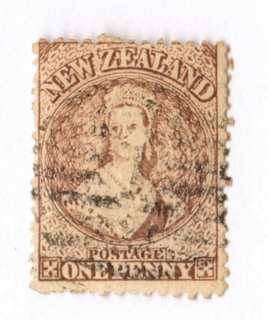 NEW ZEALAND 1862 Full Face Queen 1d Brown. Advanced plate wear. Light postmark frames face. Excellent item. - 3585 - FU image 0