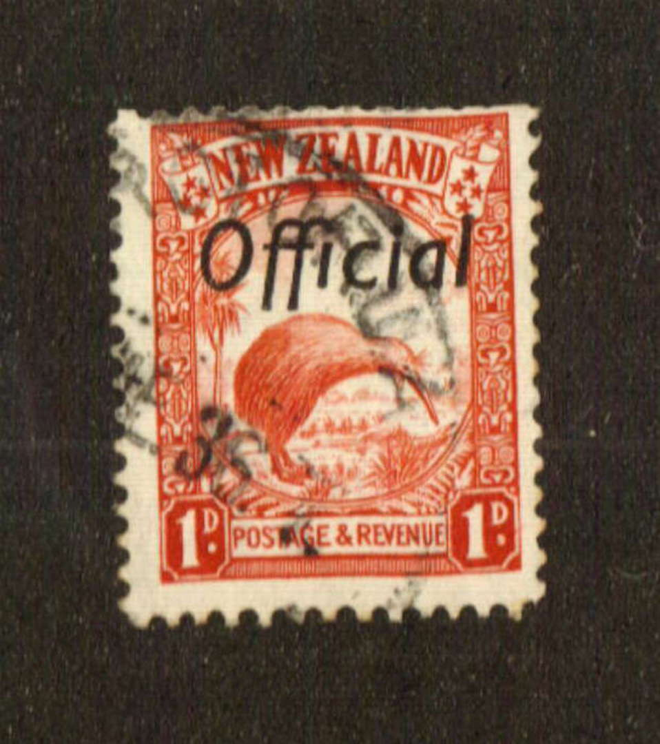 NEW ZEALAND 1935 Pictorial Official 1d Kiwi. Perf 13.5 x 14. Short perfs at the top. - 74752 - Used image 0