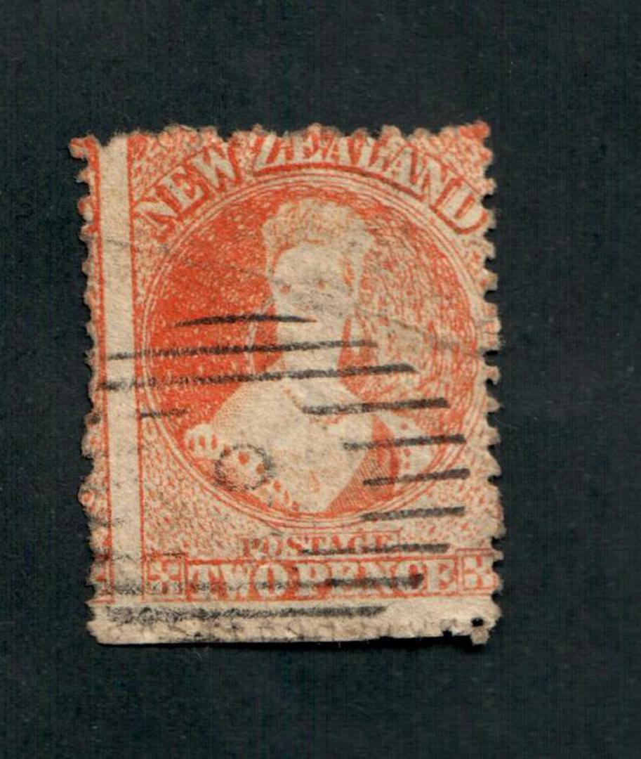 NEW ZEALAND 1862 Full Face Queen 2d Orange. Perf 12½. Worn plate heavily retouched on left. Cancel light off face. - 3558 - Used image 0