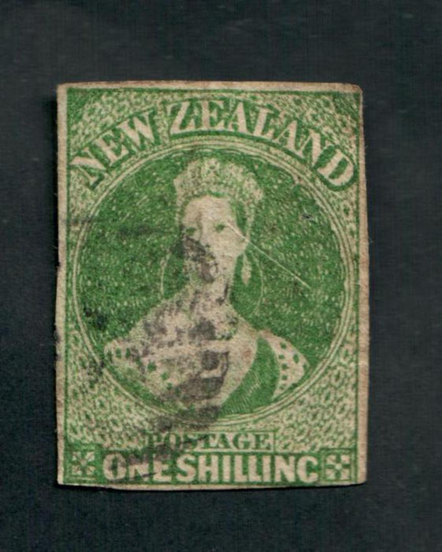 NEW ZEALAND 1855 Full Face Queen 1/- Yellow-Green. Watermark Large Star. Clear margins all round except just touching under the image 0