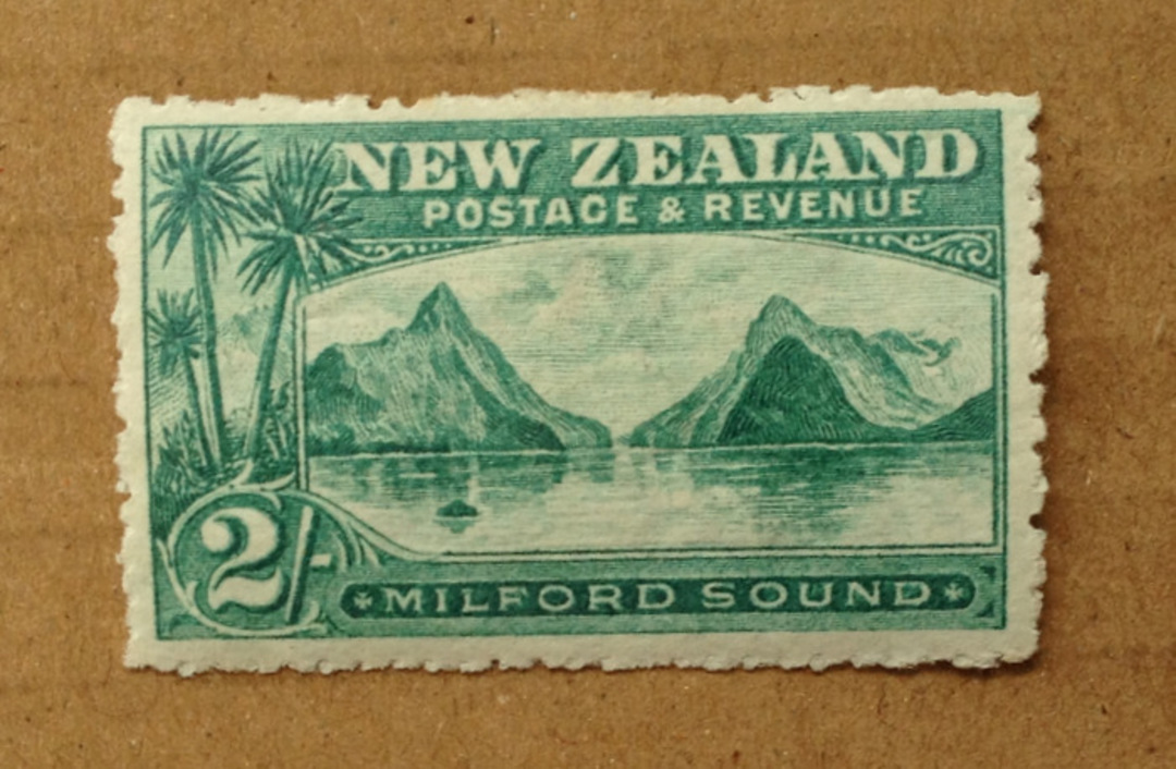 NEW ZEALAND 1898 Pictorial 2/- Milford Sound. Third Local Issue on Cowan Watermarked Paper. Perf 14. Very lightly hinged. - 7501 image 0