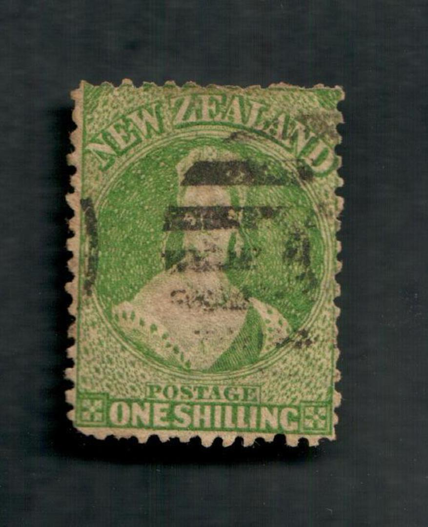 NEW ZEALAND 1862 Full Face Queen 1/- Green. Perf 12½. Watermark Large Star. Heavy postmark. Cat val by CP with faults from $35.0 image 0